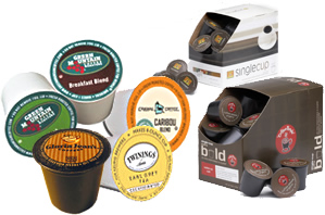 Keurig K-Cups Timothy's, Tully's, Gloria Jeans, Van Houtte, Coffee People K-Cups,  Diedrich, Newman's Own K-Cups, Celestial Seasonings, Bigelow, Green Mountain Coffee K-Cups